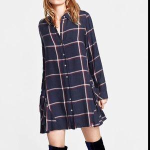 Zara Plaid/Checked Shirt Dress w/ Pockets- NWOT